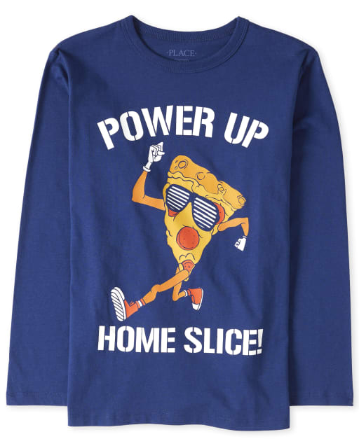 Boys Long Sleeve 'Power Up Home Slice' Pizza Graphic Tee