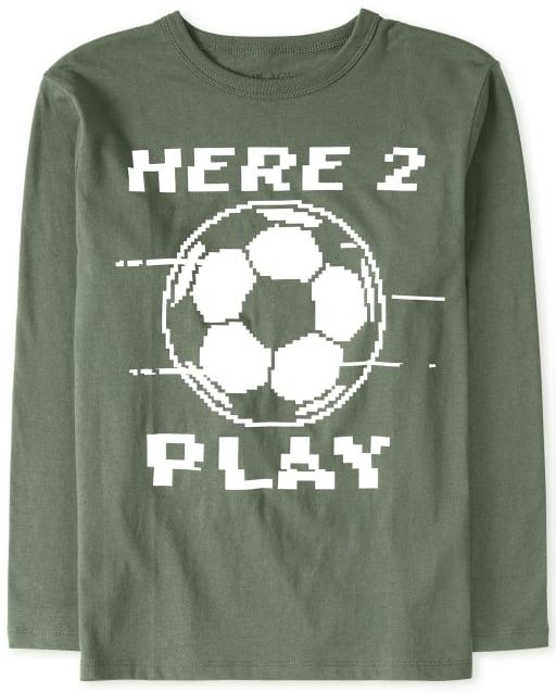 Boys Long Sleeve 'Here 2 Play' Soccer Graphic Tee