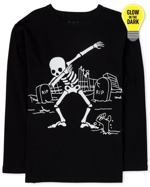 Boys Halloween Long Sleeve Glow In The Dark Dancing Skeleton Graphic Tee