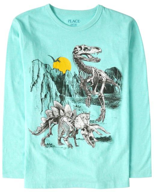 Boys Long Sleeve Dino Skeletons Graphic Tee