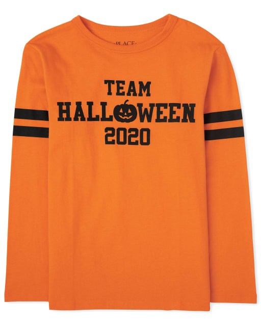Unisex Kids Matching Family Halloween Long Sleeve 'Team Halloween 2020' Graphic Tee