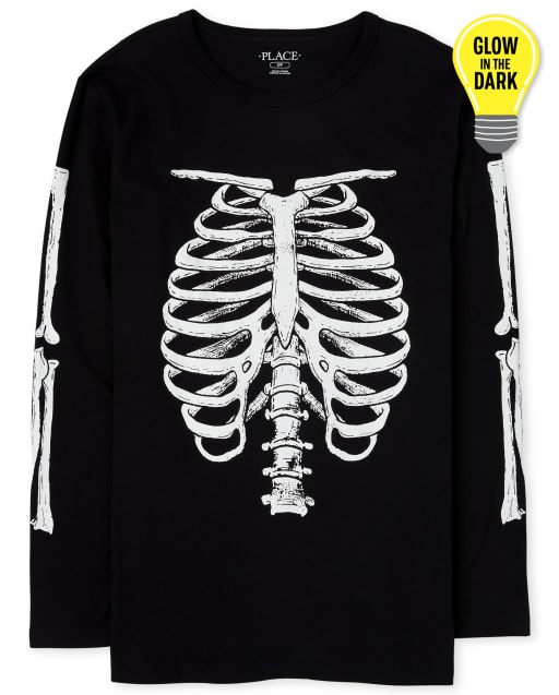 Mens Dad And Me Halloween Long Sleeve Glow In The Dark Skeleton Matching Graphic Tee