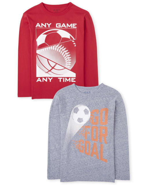 Boys Long Sleeve Sports Graphic Tee 2-Pack