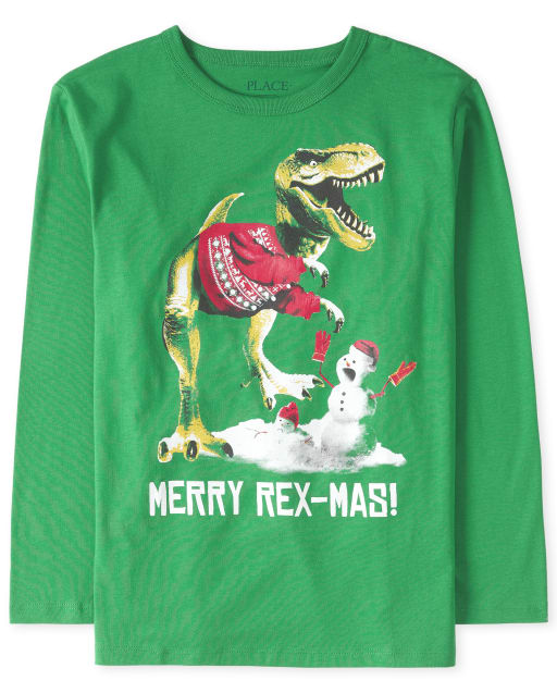 Boys Christmas Long Sleeve 'Merry Rex-Mas' Dino Graphic Tee