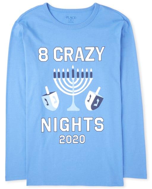 Camiseta unisex de manga larga de Hanukkah familiar a juego para adultos ' 8 Crazy Nights 2020 '