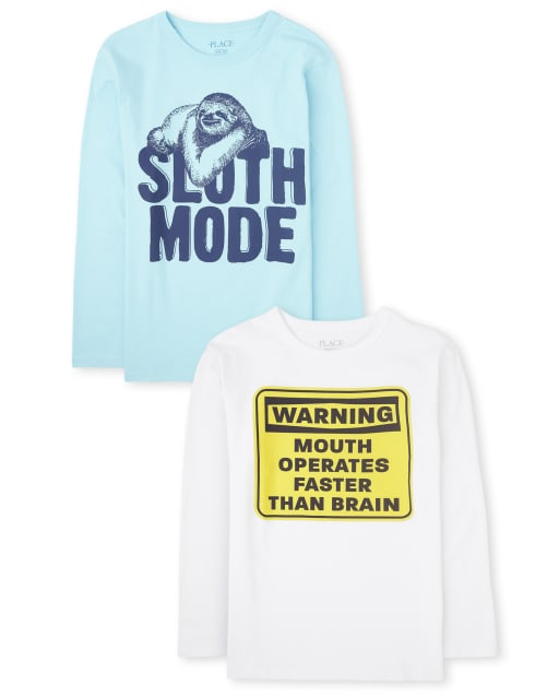 Boys Long Sleeve 'Warning Mouth Operates Faster Than Brain' And 'Sloth Mode' Graphic Tee 2-Pack