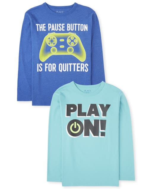 Boys Long Sleeve 'Play On' And 'The Pause Button Is For Quitters' Video Game Graphic Tee 2-Pack