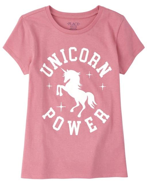 Girls Short Sleeve Glitter 'Unicorn Power' Graphic Tee