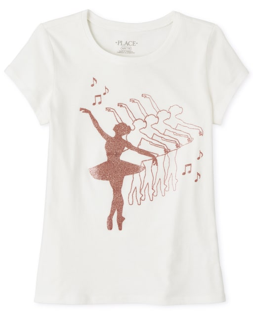 Camiseta estampada de bailarina con purpurina para niñas