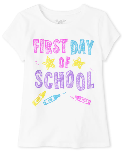 Girls Short Sleeve 'First Day Of School' Graphic Tee