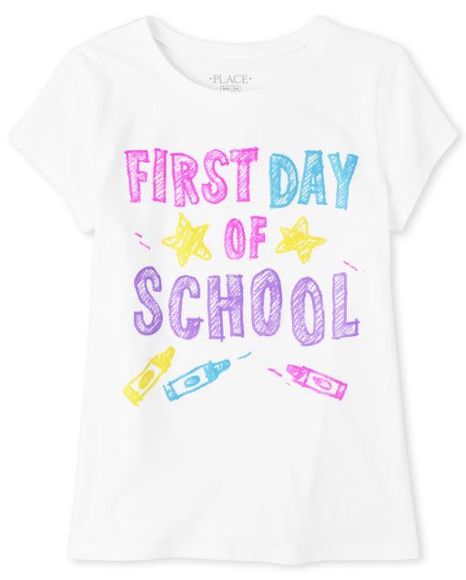 Camiseta estampada primer día de escuela para niñas