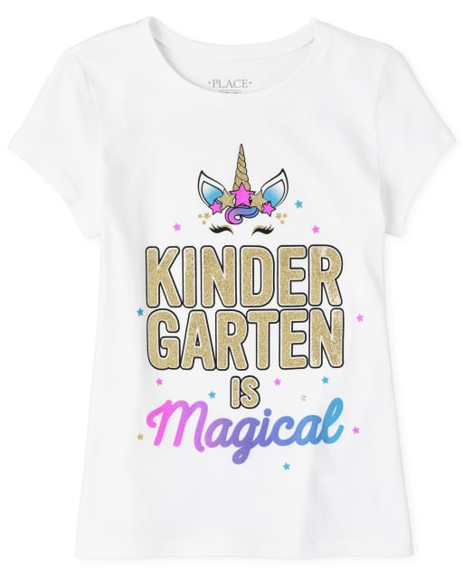 Girls Short Sleeve Glitter 'Kindergarten Is Magical' Unicorn Graphic Tee