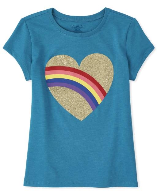 Camiseta estampada con corazón de arcoiris y purpurina para niñas