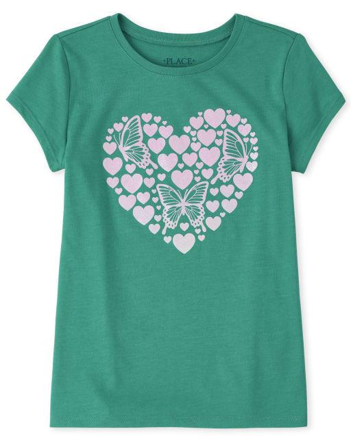 Camiseta estampada con corazón de purpurina para niñas