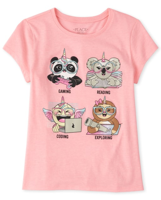 Girls Short Sleeve Glitter Pandacorn Graphic Tee