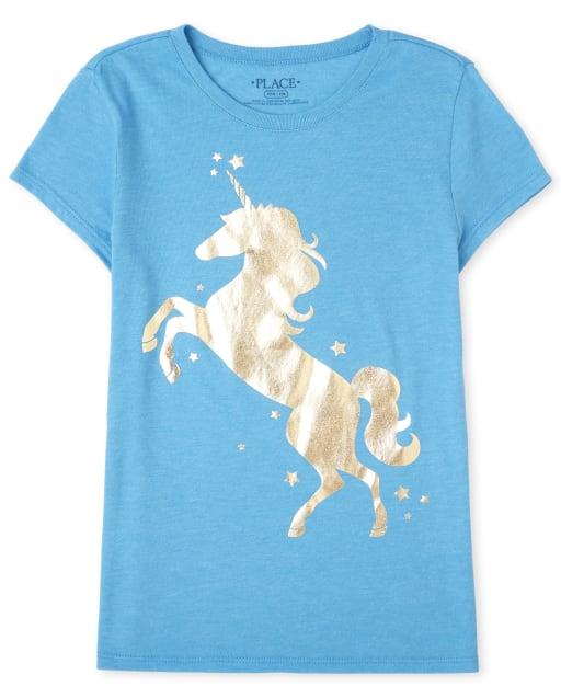 Girls Short Sleeve Foil Unicorn Graphic Tee
