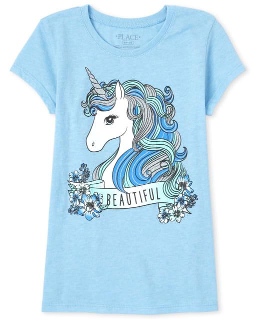 Girls Short Sleeve 'Beautiful' Unicorn Graphic Tee