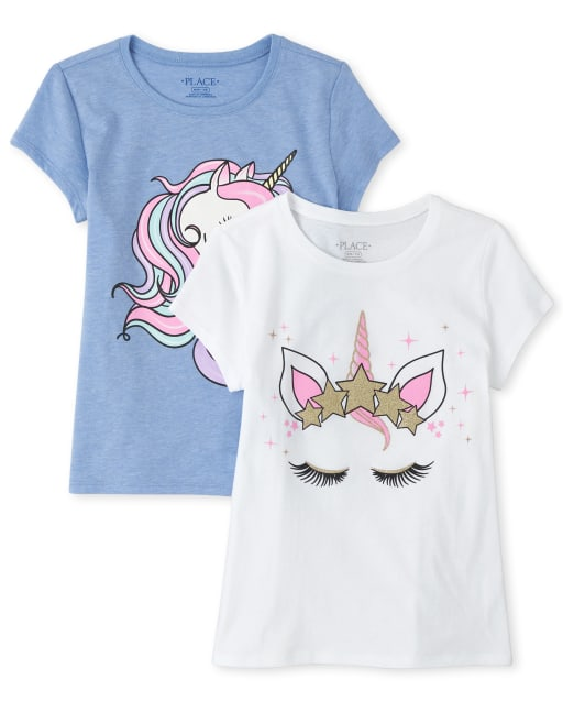 Girls Short Sleeve Glitter Unicorn Graphic Tee 2-Pack