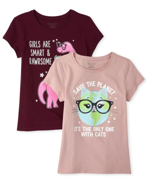 Girls Short Sleeve Glitter Cat And Dino Graphic Tee 2-Pack