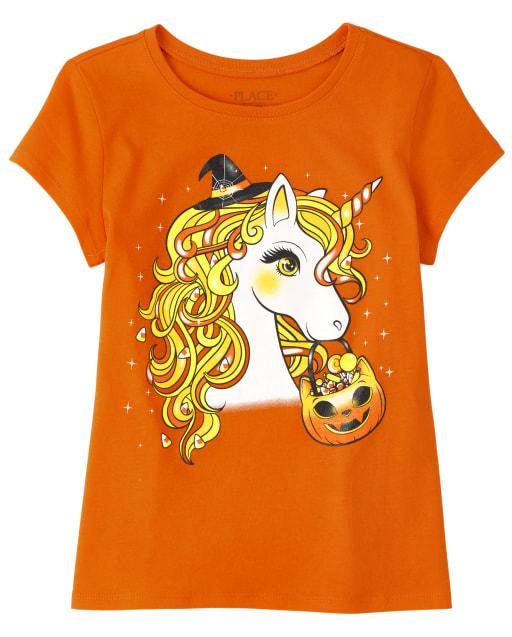 Girls Halloween Short Sleeve Unicorn Graphic Tee