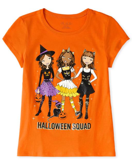 Girls Halloween Short Sleeve Squad Graphic Tee