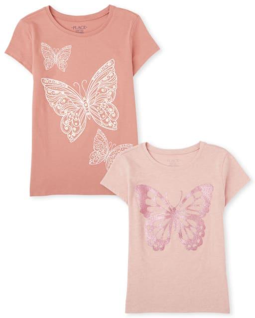 Camiseta con estampado de mariposa para niñas, paquete de 2