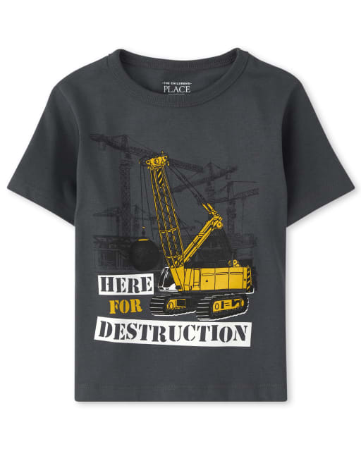Baby And Toddler Boys Short Sleeve 'Here For Destruction' Graphic Tee