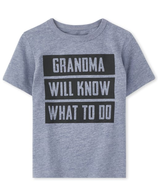 Baby And Toddler Boys Short Sleeve 'Grandma Will Know What To Do' Graphic Tee