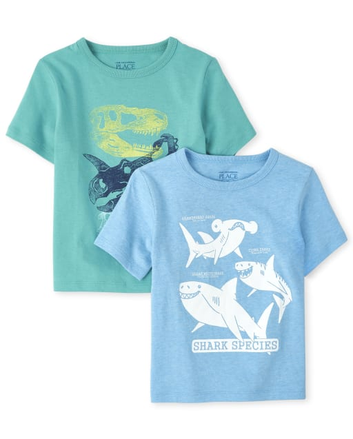 Baby And Toddler Boys Short Sleeve Shark And Dino Graphic Tee 2-Pack