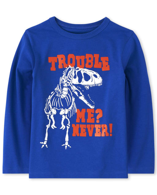Baby And Toddler Girls Long Sleeve 'Trouble Me? Never!' Dino Graphic Tee