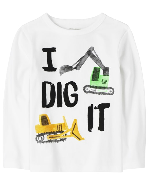 Baby And Toddler Boys Long Sleeve 'I Dig It' Truck Graphic Tee