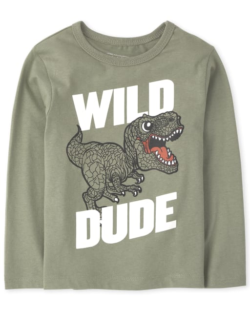 Camiseta estampada ' Wild Dino ' manga larga para bebés y niños pequeños