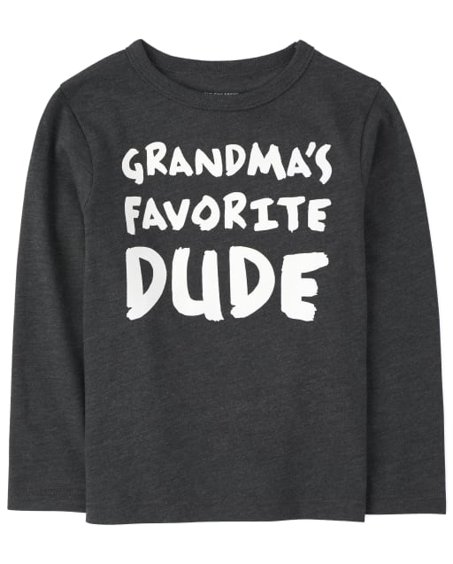 Baby And Toddler Boys Long Sleeve 'Grandma's Favorite Dude' Graphic Tee