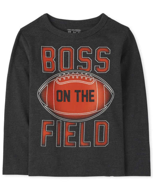 Baby And Toddler Boys Long Sleeve 'Boss On The Field' Football Graphic Tee