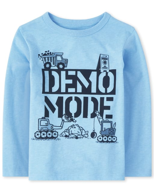Baby And Toddler Boys Long Sleeve 'Demo Mode' Graphic Tee