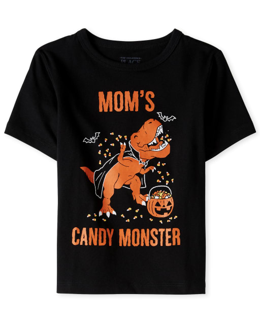Baby And Toddler Boys Halloween Short Sleeve 'Mom's Candy Monster' Dino Graphic Tee