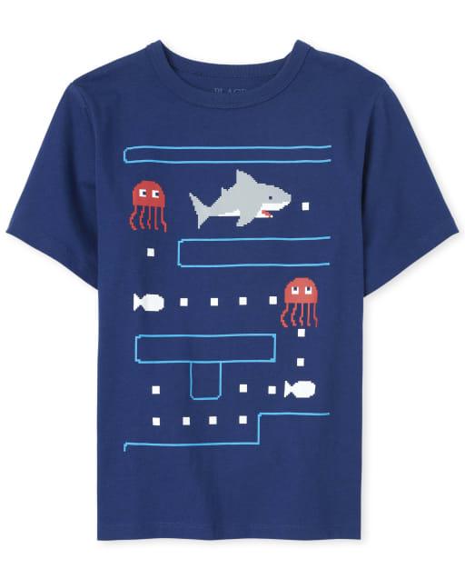 Camiseta gráfica Shark, videojuego para niños