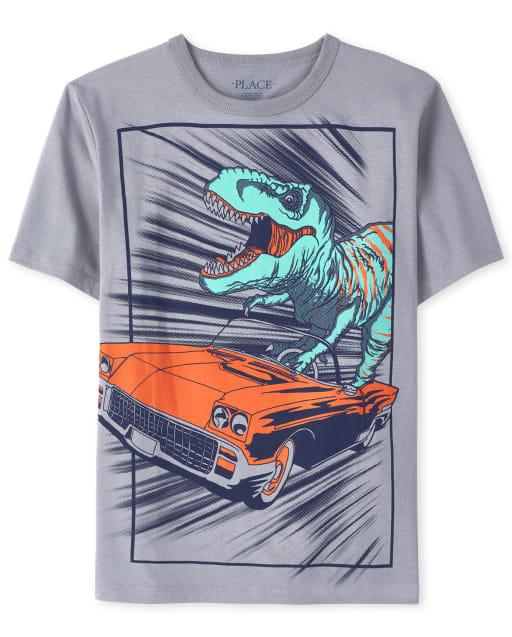 Boys Short Sleeve Dino Car Graphic Tee