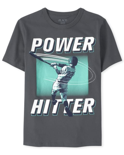 Boys Short Sleeve 'Power Hitter' Baseball Graphic Tee