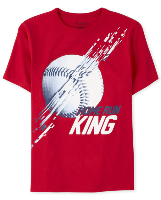 Boys Short Sleeve 'Home Run King' Baseball Graphic Tee