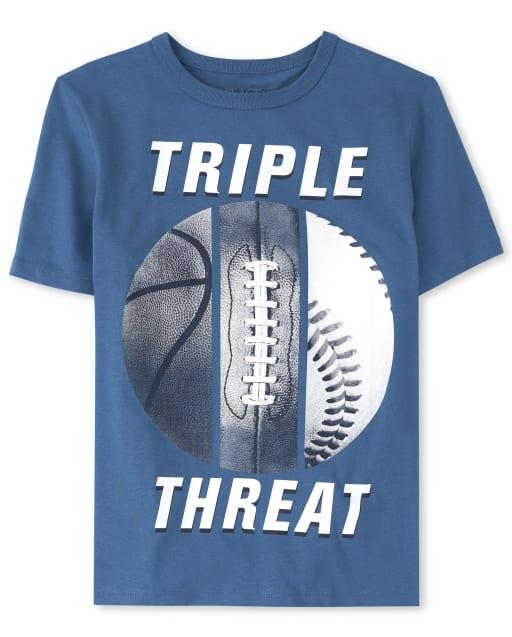 Camiseta estampada deportiva triple amenaza para niños