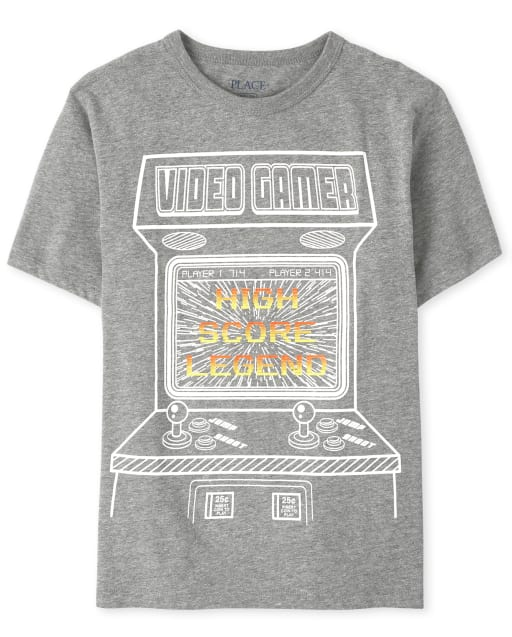 Boys Short Sleeve 'Video gamer High Score Legend' Graphic Tee
