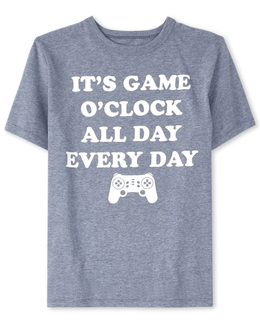 Boys Short Sleeve 'It's Game O'Clock All Day Every Day' Videogame Graphic Tee