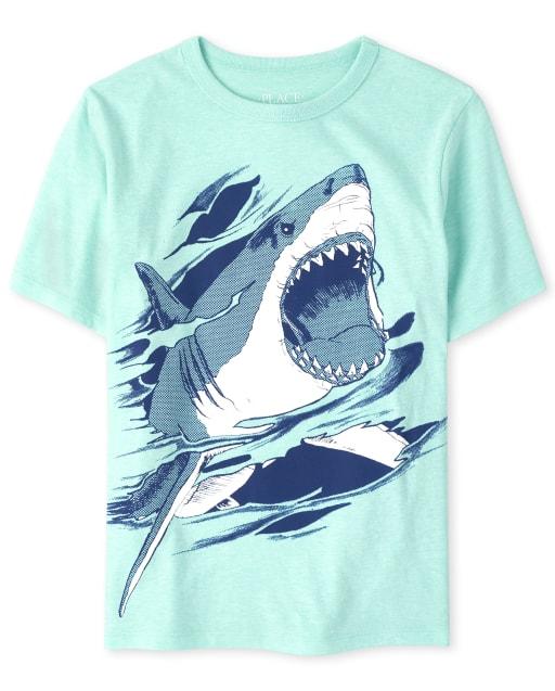 Camiseta estampada de tiburón para niños