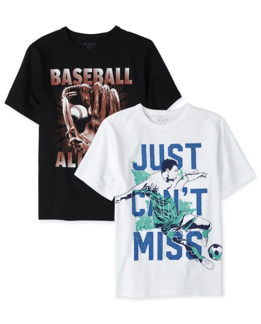 Camiseta estampada deportiva para niños, paquete de 2