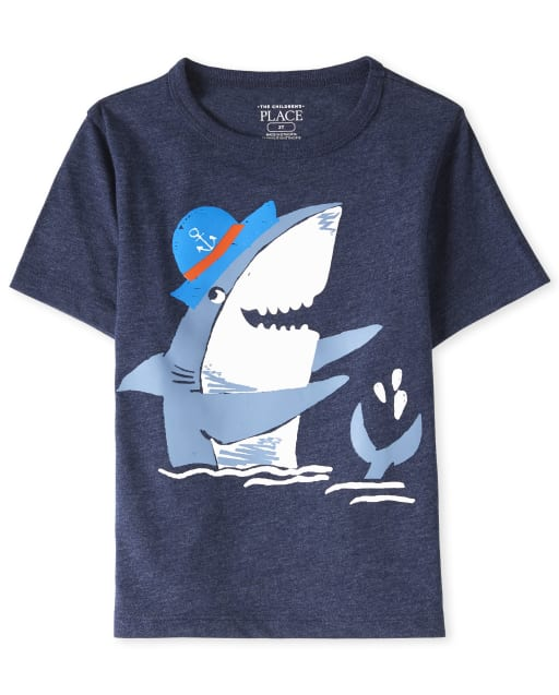 Baby And Toddler Boys Short Sleeve Shark Graphic Tee