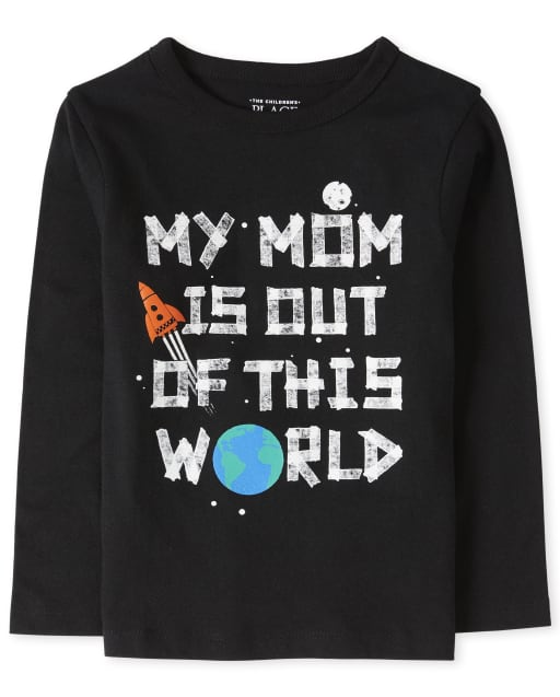 Baby And Toddler Boys Long Sleeve 'My Mom Is Out OF This World' Graphic Tee