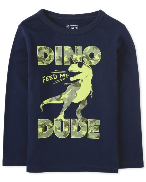 Baby And Toddler Boys Long Sleeve 'Dino Dude' Graphic Tee