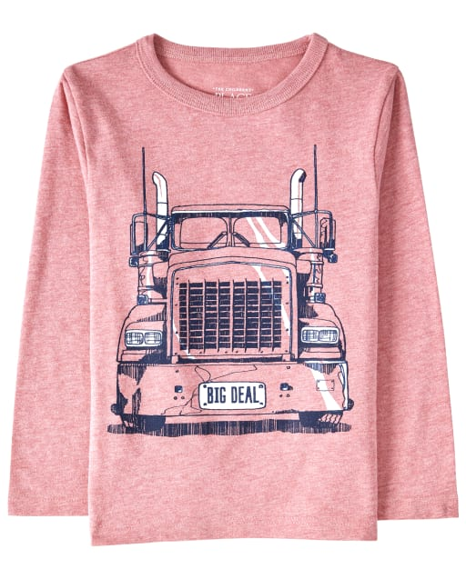 Baby And Toddler Boys Long Sleeve 'Big Deal' Truck Graphic Tee