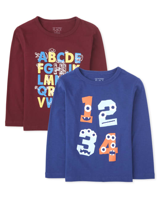 Baby And Toddler Boys Long Sleeve 'ABC' and '123' Graphic Tee 2-Pack